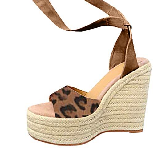 YUANSAI Sandalias de Mujer Plataforma, Moda Polaco Dull Costura Peep Toe Cuñas Hasp Sandalias Zapatos Flatform Sandalias Mujer Cuña Alpargatas Plataforma