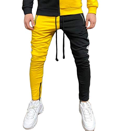 Herren Trainingsanzug Set aus Cargo Jogginghose und Hoodie Slim Fit, Lässig Männer Jogginganzug Sportanzug Full Zipper Patchwork Hoodie Hip Hop (Gelbe Hosen, L)