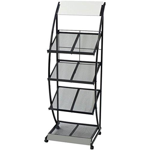 Galapara Prospektständer prospekthalter und Zeitschriftenständer A4 mit Rollen und 5 Halter, 47 x 40 x 134 cm, Schwarz und Weiß
