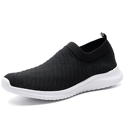 TIOSEBON Women's Walking Shoes Lightweight Mesh Slip-on- Breathable Running Sneakers 7.5 US Black