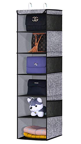 Onlyeasy Hanging Closet Organizer 6 Tiers Clothes Hanging Shelves with Sturdy Metal Frame for Sweater Handbag Organizer 120x30x30 cm Linen-Like Black 1MXAX6CP
