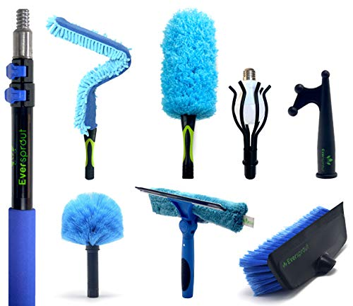 EVERSPROUT 7-to-20 Foot Extension Pole Total Kit (25+ Ft Reach) | Telescopic Pole, Scrub Brush, Light Bulb Changer, Hook, Swivel Squeegee, 3x Microfiber Dusters (Cobweb, Flexible Ceiling Fan, Feather)