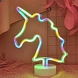 ENUOLI LED Einhorn Licht Neon Schilder Neon Signs Lampen Unicorn Neon Lights-Raum-Dekor-Batterie und USB-Betrieb Einhorn-Nachtlicht mit Sockel Leuchtreklamen leuchten Bar Schlafzimmer Hochzeit Weihna