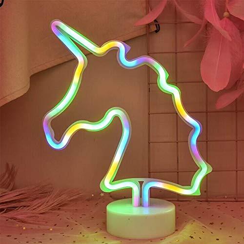 ENUOLI LED de luz de neón del unicornio signos Los signos de neón Lámparas unicornio luces de neón de la decoración del sitio de la batería y Operación Unicornio luz de la noche del USB con el pedest