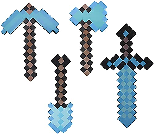 LFDSBLJ Juego de Juguetes de Minecraft con Espada de Espuma de Diamante, Espada de Duelo Suave y Segura, Pico/Hacha/Pala/metralleta/Pistola, Juego de Roles y deformación, Arma de Juguete Divertida(A)
