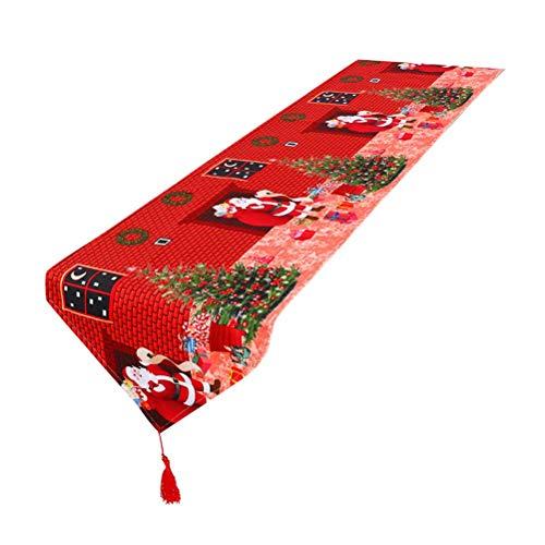 BESTOYARD Camino de Mesa Navideno con Arbol de Navidad y Papa Noel Decoraciones de Mesa para Navidad (Rojo)