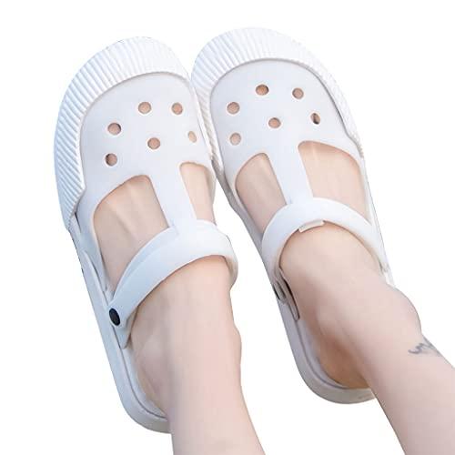 MYBOON Nouvelles Femmes Jardin Plage été hôpital infirmière Sabots Dames Sandales Plates Chaussures Bord de mer Plage Trou Chaussures Pantoufles Blanc