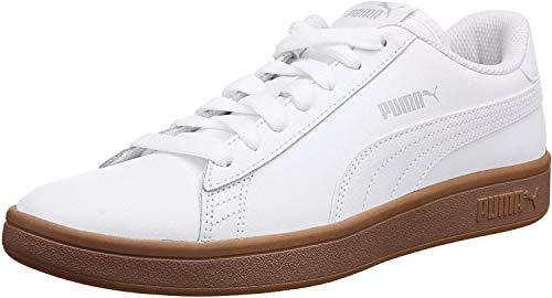 PUMA Unisex Smash V2 L Sneaker, White Gray Violet Gum, 44 EU