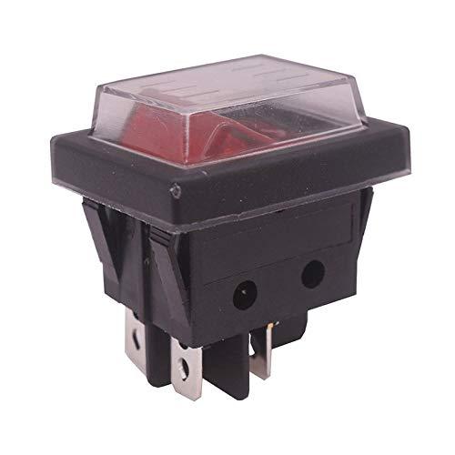Dafengchui 4 PCS Botón Rojo Interruptor de Rocker 4 Enchufes 37 * 30 * 30mm 16A 250V AC / 20A 125V CA Interruptores de Equipo eléctrico al por Mayor (Color : 2 Pcs, Size : 37x30x30mm)