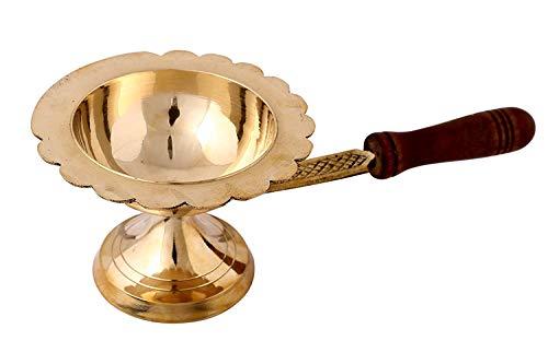 Mango de madera Pooja Dhoop Diya latón Diya paquete de 1 pieza