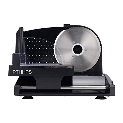 PTHHPS Meat Slicer Electric Food Slicer with Removable Stainless Steel Blade Professional Chef Slicer Adjustable Thickness Black Food Slicer Machine for Meat Cheese and Vegetables