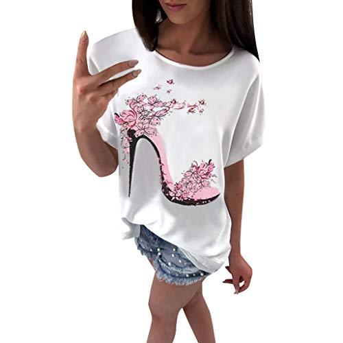 OVERDOSE Frauen Kurzarm Blumen Pumps Gedruckt Tops Strand Beiläufige Lose Bluse Top T-Shirt (EU-46/CN-3XL, X-c-weiß)