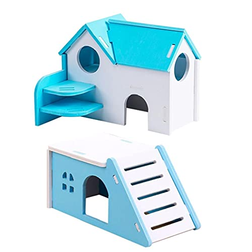 Ohomr Hamster Casa plástico escondite Inicio Lindo Juego Divertido Cama casa Salón para 2pcs Pequeños Animales Hamster Azul