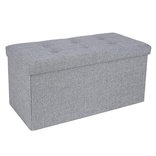 SONGMICS 76 cm Sitzbank Sitztruhe Aufbewahrungsbox Sitzhocker belastbar bis 300 kg leinen Hellgrau LSF47G