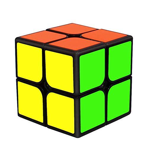 RENFEIYUAN 2x2x2, 2x2 mA con PVC para Adultos y niños, Negro Rubik Cubo