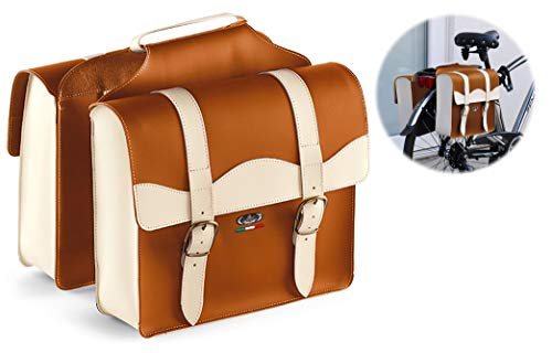 Montegrappa - Doble bolsa portaequipajes - 0024 - Alta calidad - Made in Italy - Miel / Crema