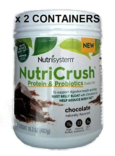 NUTRISYSTEM NutriCrush Shake (Probiotic Bust Belly Bloat) CHOCOLATE SHAKE MIX (2 CONTAINERS) - Support Digestive Health & Help Bust Belly Bloat - 16.3 oz. Each