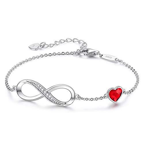 HJPAM 925 sterling zilveren ketting armband met rode hartvormige infinity knoop vriendschapsarmband dames verstelbare bedelarmband