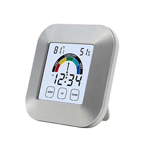 decaden-Innenthermometer und Hygrometer-Wetteruhr, multifunktionaler elektronischer Touch-Typ Komfortanzeige Thermometer-Hygrometer