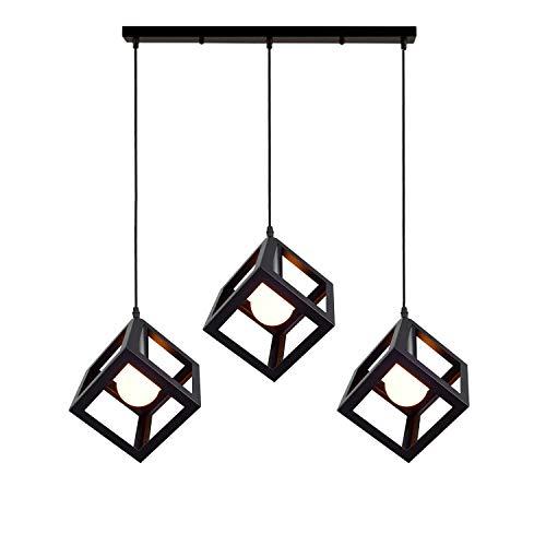 iDEGU 3 Luci Lampadario a Sospensione Vintage stile Geometrico Lampade a Sospensione in forma di Cubo per camera da letto, soggiorno, sala da pranzo, cucina, 16 cm, nero