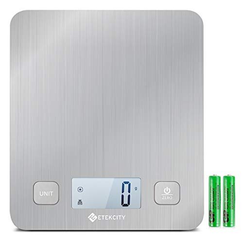 Etekcity Food Kitchen Digital Weight Scale for Cooking and Baking, Large Platform 11lb 5kg, Batteries Included (Stainless Steel), White