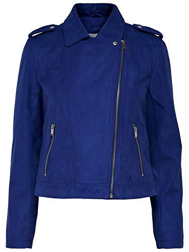 EGOMAXX JDY Damen Leder Jacke Biker Suede Velour Wildleder Optik, Farben:Blau, Größe:40 / L