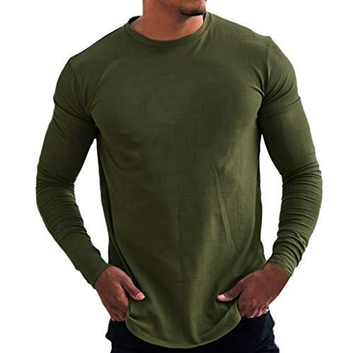 SANFASHION Herren Langarmshirt Longsleeve Casual Unifarben Pullover Täglichen Bodybuilding Sweatshirt Basic Fitness Sport Gym T-Shirt