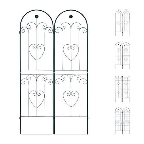 Relaxdays Set de Dos Soportes para Enredaderas, Enrejado metálico, Arco con Flor y corazón, 180 x 50 cm, Verde Oscuro