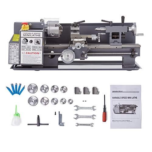 Orion Motor Tech 7x14Inch Mini Lathe w Digital Display, 50-2250 RPM 3/4 hp w Accessories for DIY Wood and Metal Turning Cutting Drilling, Metal Lathe Machine for Woodwork and Metalwork