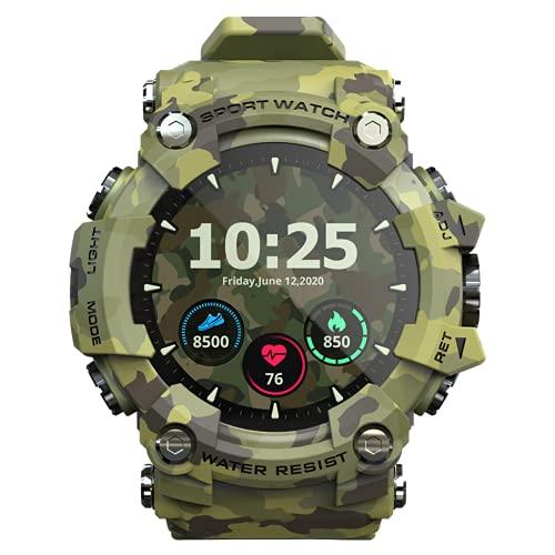 SDTYYP Relojes Inteligentes para Teléfonos Android Y iOS SmartWatch Fitness Tracker Fitness Reloj Relojes Deportivos para Hombres Hombres Y Mujeres (Camouflage)