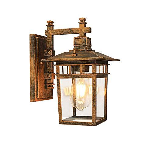 Klassieke buiten-wandlamp retro vintage zwart outdoor wandlampen van aluminium en glas schaduw IP23 wandverlichting buitenlamp rustiek voor balkon, terras, hal trappen tuin hek, 23 x 18 x 29 cm