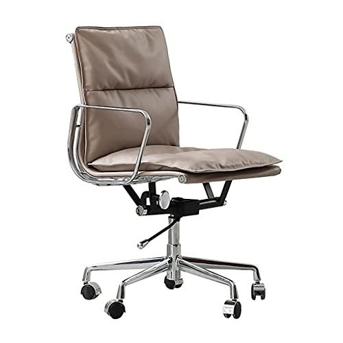 Sillas de Oficina Escritorio Cómoda giratoria de elevación sedentaria Cuero Simple Hierro Art Reposabrazos Respaldo computadora (Color : Gray, Size : 45 * 45 * 98cm)