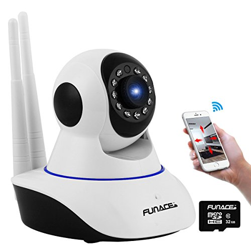 FunAce Dual Antenna IP Network Wireless Camera with 32 GB MicroSD Card
