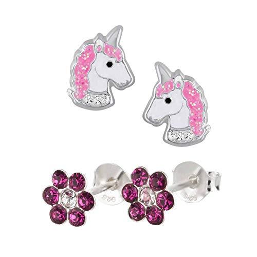 FIVE-D 2 Paar Kinderohrringe Einhorn Pferd und Blume Kristall aus 925 Silber im Schmucketui...
