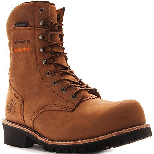 ROCKROOSTER Work Boots for Men, 9'' Waterproof Logger, Composite Toe, Oiled Slip Resistant, EH, Coolmax, Poron XRD, Kevlar, Anti-Fatigue AP155, AP156