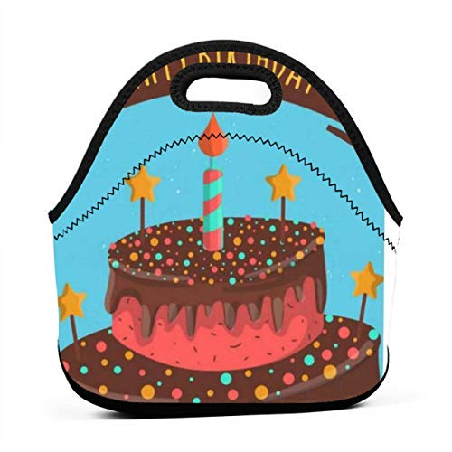 Tote Bag Lunch Bags For Women Men,Lightweight, Insulated And Reusable Cooler Bag For Outdoor School Office Cake Candlelight Birthday