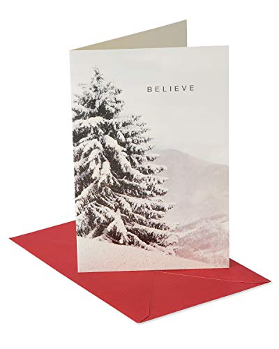 American Greetings Christmas Cards Boxed, Snowy Tree (12-Count)