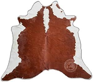 ALFOMBRA DE PIEL DE VACA – Modelo Hereford HF1 – Tamaño: 220 x 200 cm – Calidad Premium – 100% Natural – Color Marrón y Blanco – Marca PIELES DEL SOL