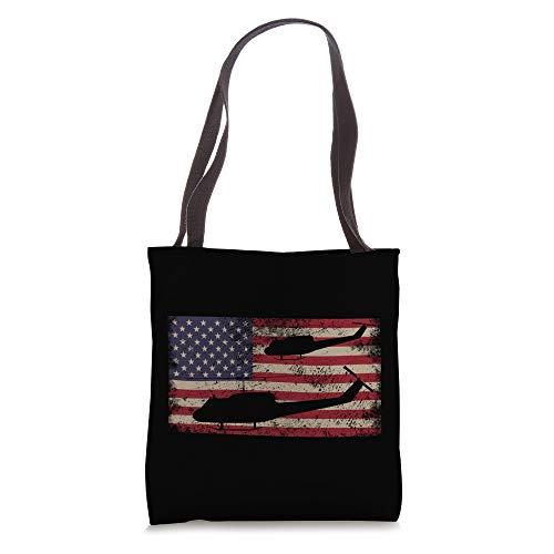 UH1 Huey Helicopter USA Vintage American Flag Gifts Tote Bag