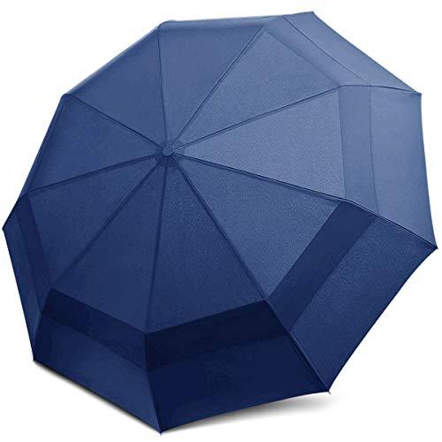 DORRISO Hombres Mujer Automático Plegable Paraguas Grande Compacto Portátil Viajar Paraguas Antiviento Impermeable Unisexo Paraguas Azul