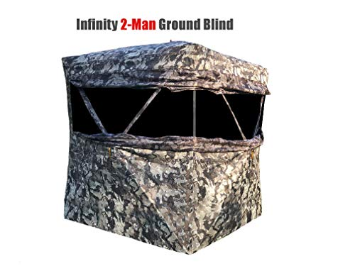 Muddy Infinity 2-Man Ground Blind with Surround View Shadow Mesh Eliminates Blind Spots