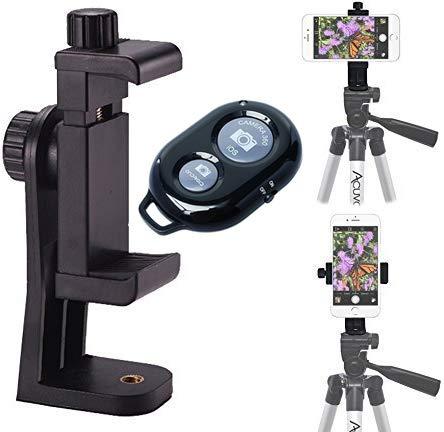 Acuvar Heavy Duty Rotating Smartphone Tripod Mount Wireless Smartphone Shutter Remote For iPhone 12, iPhone 12 Pro Max, 11 Pro Max, 11 Pro, 11, X Xs Max Xr 8, 8+, 7, 7 Plus, 6, SE 2 Samsung Galaxy S20