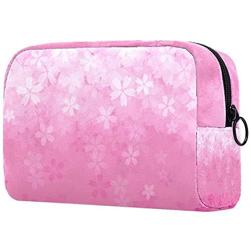 Trousse de toilette portable pour femme avec motif fleur de cerisier rose
