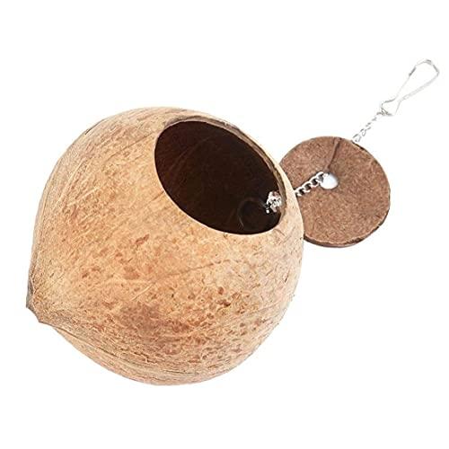 YepYes Casa de cáscara de Coco Jaula de pájaro Nido Cama de Madera de anidación del Loro Casa Cadena Colgante Jaula Juguete del Chew para Bird