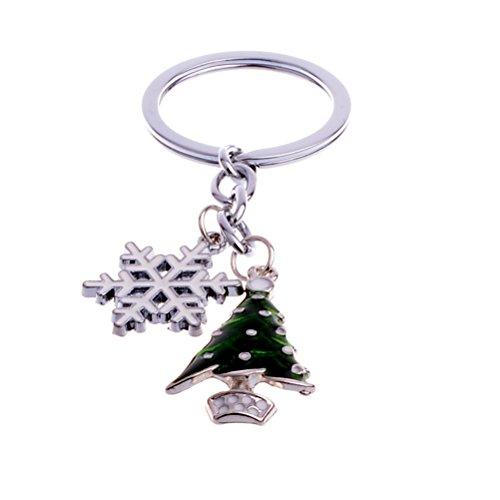 BESTOYARD Cute Mini Christmas Tree and Snowflake Design Handbag Keychain Key Ring Decorative Car Key Chain Trinket Souvenir Key Pendant