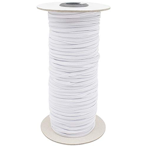 Riyanon 100 Yards Elastic Band for Sewing Mask 1/8 inch, Flat Elastic Cord, Braided Elastic Band Elastic Rope Bungee Heavy Stretch Knit High Elasticity (White 1/8' 3mm)