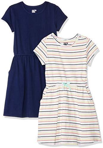 Spotted Zebra Girls Kids Knit Short Sleeve Cinch Waist Dresses 2 Pack Multi Stripe Navy Large product image
