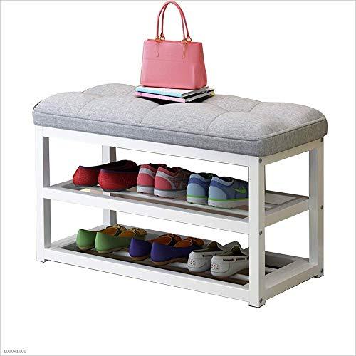 ZAIHW Zapatero Caja de Zapatos de 2 Niveles - Taburete de sofá de Metal multifunción con cojín de Asiento, 4 Colores (Color: Gris, tamaño: 80 cm)