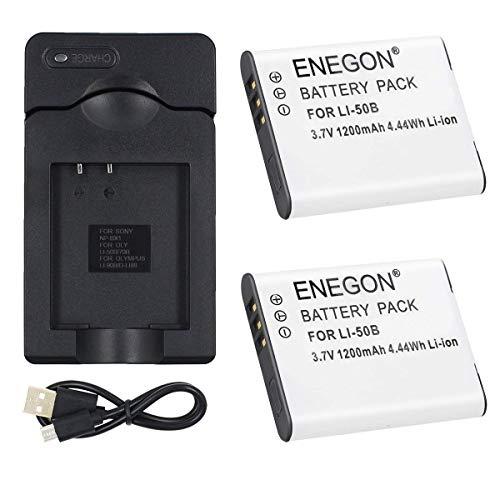 ENEGON 2 Baterías de Repuesto para Li-50B y Cargador de Micro USB para Olympus Stylus SZ-10, SZ-12, SZ-15, 1010, 1020, 1030, 9000, 9010, SP-800UZ, SP-810UZ, SP-720UZiHS, VR-340, TG-610