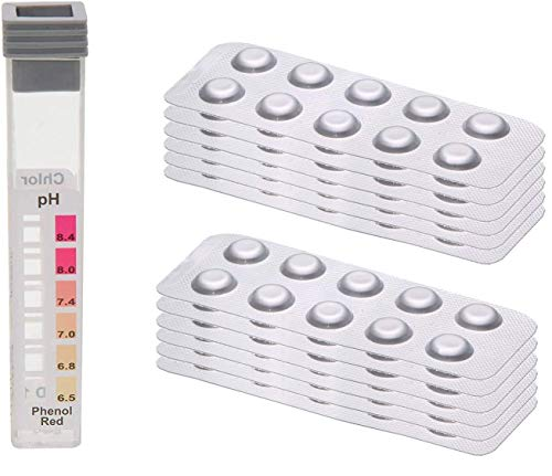 POWERHAUS24 120 Testtabletten 60 x pH-Wert Phenol Red und 60 x DPD1 Chlor - inkl. Messkammer